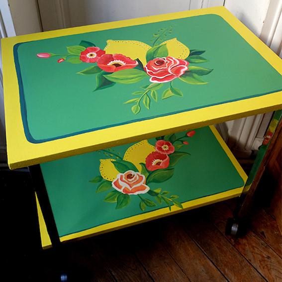 Table roulante relookée_Format Carré_Art4Design_Stéphanie Lelong