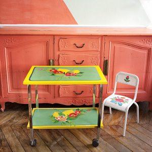 Table roulante relookée_photo éclaircie_Art4Design_Stéphanie Lelong