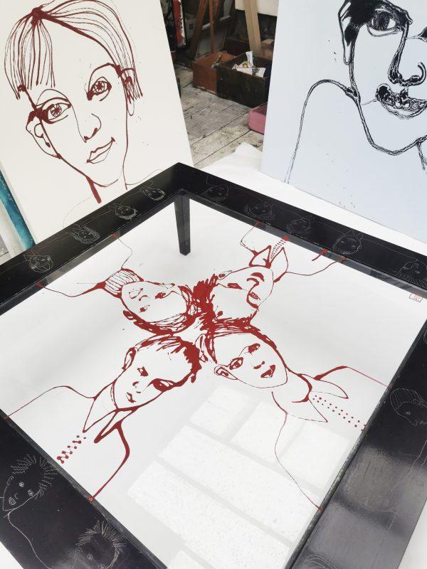 Table basse relookée_vue du dessus éclaircie_Art4Design_Laurent Godard