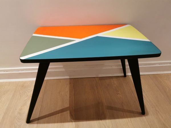 Table basse pied compas relookée_Art4Design_Pauline Godard