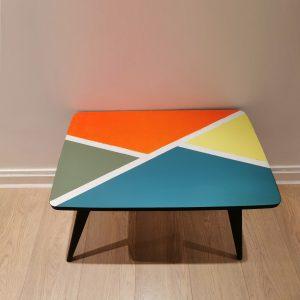 Table basse pied compas relookée_vue du dessus_Art4Design_Pauline Godard