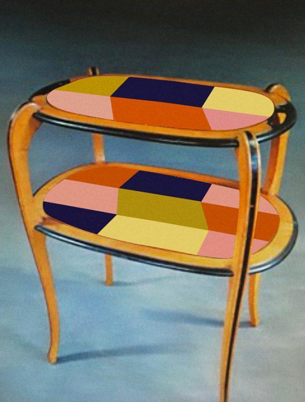 Table à thé année 30_version bleue foncée_Art4Design_Stéphanie Lelong